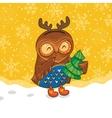 Happy owlet with tree vector
