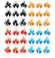 Fire flames big set new icons vector