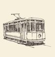 Vintage tram engraved hand drawn vector