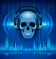 Skull in headphones disco background vector