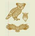 Vintage decorative owl sketches vector