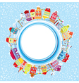 Abstract round banner with small fairy town vector