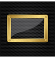 Glass in golden frame on abstract metal speaker gr vector