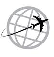 Airplane icon around the world vector