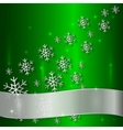 Green plate with snowflakes and white ribbon vector