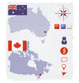 Australia and canada dotted maps with design eleme vector