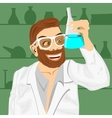 Lab assistant holding bunsen flask vector