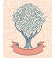Tree abstract logo with ribbon - vector