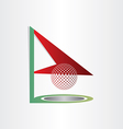 Golf flag and ball golf hole abstract design vector