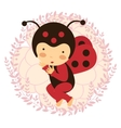 Beautiful ladybug baby card vector