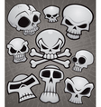 Cartoon skull collection vector