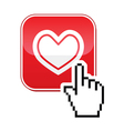 Heart button with cursor hand icon - velntines vector