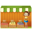 A girl selling different fruits vector