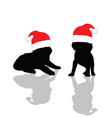 Little cute dog with red christmas hat vector