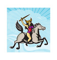 Valkyrie amazon warrior riding horse vector