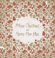 Retro christmas card with seasonal pattern vector