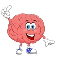 Cute brain cartoon character pointing vector
