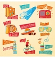 Set of cute bright summer icons with typographic vector