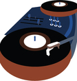 Music event poster with vinyl playing gramophone vector