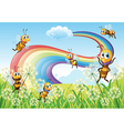 Bees at the hilltop and a rainbow in the sky vector