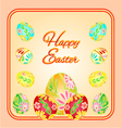 Frame with easter eggs spring background vector