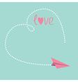 Origami paper plane big dash heart in the sky love vector