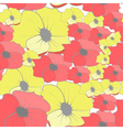 Seamless wallpaper with cartoon style flowers vector
