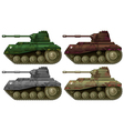 Four combat tanks vector