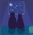 Child and dog looking at the night sky vector