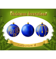 Christmas decorations collection of blue balls vector