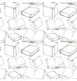 Seamless pattern with outline decorative books vector