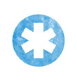 Emergency ambulance symbol with pixel print vector