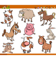 Farm animals set cartoon vector