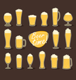 Beer in glass pint of beer flat icon set vector