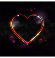Glowing love heart border background vector