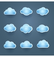 Set of blue cloud icons vector