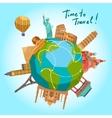 Travel landmarks background vector