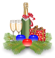 Champagne gift box christmas vector