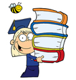 School girl carrying a stack of books vector