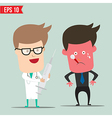 Cartoon doctor using syringe - - eps10 vector