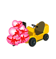 Forklift truck loading a stack of hearts vector