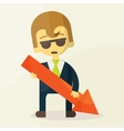 Businessman holding graph down vector