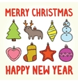 Merry christmas and happy new year toys vector