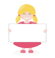 Blond girl holding white empty banner vector