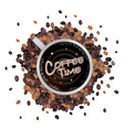 A cup of hot coffee with coffee time word vector