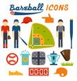 Flat design icons of baseball vector