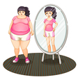 A fat girl and her slim version in the mirror vector