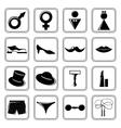 Gender icons set black vector