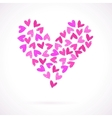 Card with many watercolour painted hearts vector