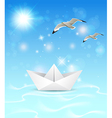 Summer blue marine background with paper boat vector